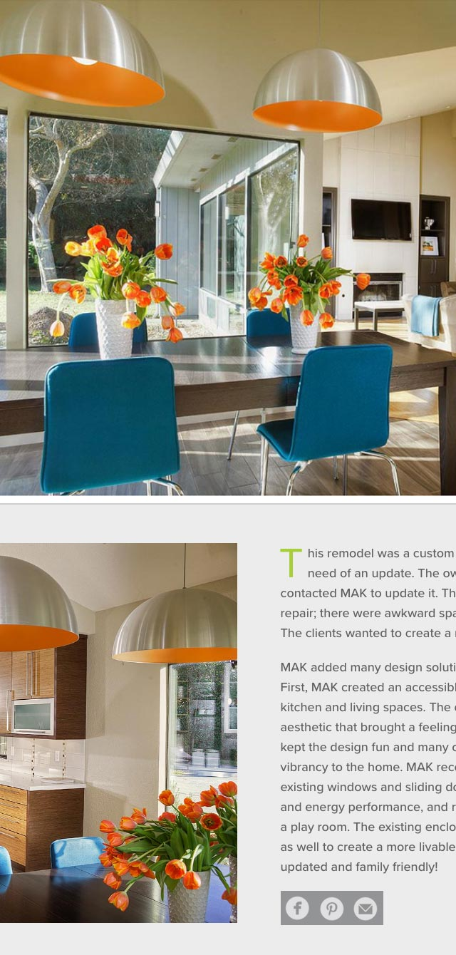 Custom web design for MAK Design + Build. Cuffe Sohn Design OR